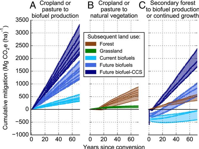 Figure 3. Cumulative biophysical greenhouse gas mitigation potential vs. time