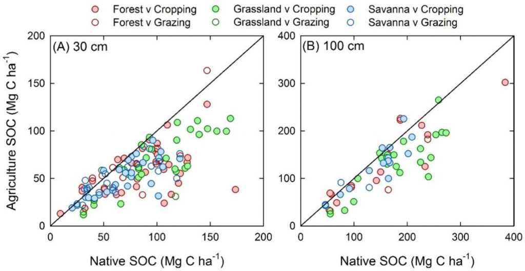 Losses of soil organic carbon stocks associated with conversion of land to cropping and grazing down to 30 cm and 1 m